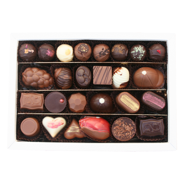 large classic gift box open with chocolates showing