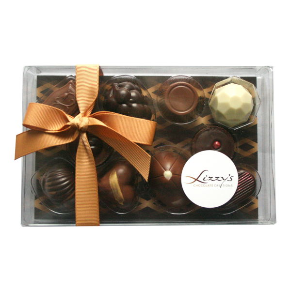 ten chocolates inside the clear 150g giftbox