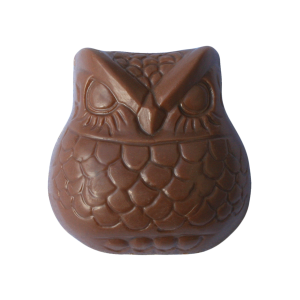 chocolate with liquorice bit chunks inside in the shape of an owl