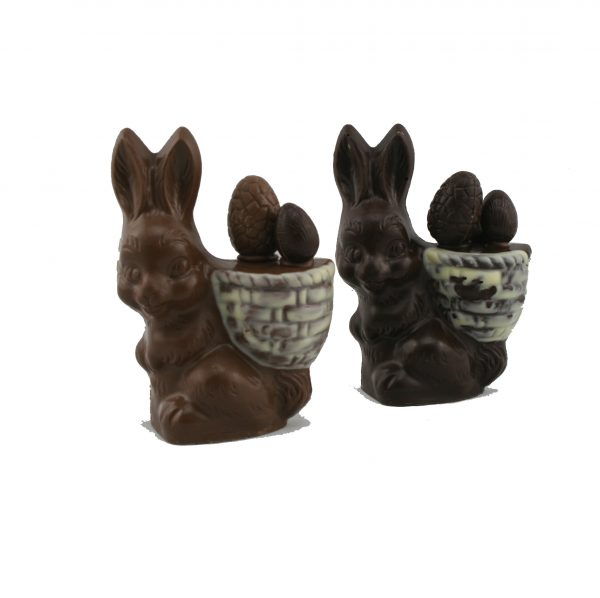 Chocolate Easter bunny with a basket of eggs