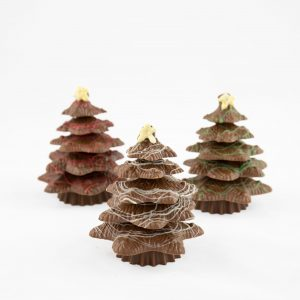 a small solid chocolate tree with coloured chocolate tinsel