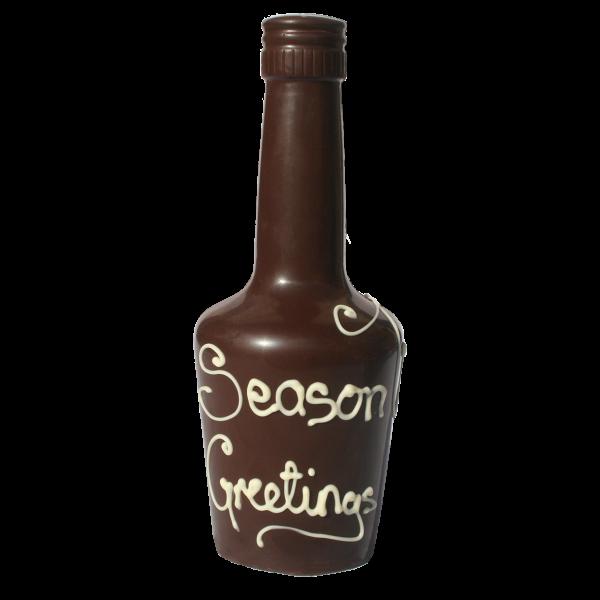 Seasons greetings message on chocolate bottle