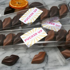Three pucker up boxes filled with turkish delight and citrus spice flavoured lips