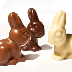 chocolate bunnies available in milk, dark and white chocolate