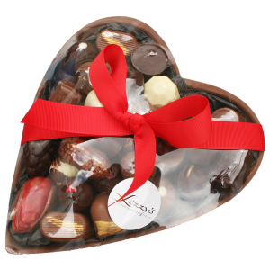 Large heart with assorted chocolates inside wrapped with a bow around