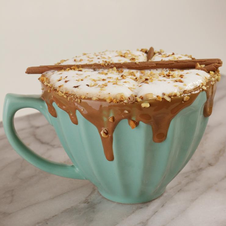hazelnut hot chocolate in a mug
