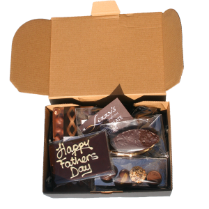 """hamper box full of chocolate items with a """"happy fathers day plaque in the centre"""