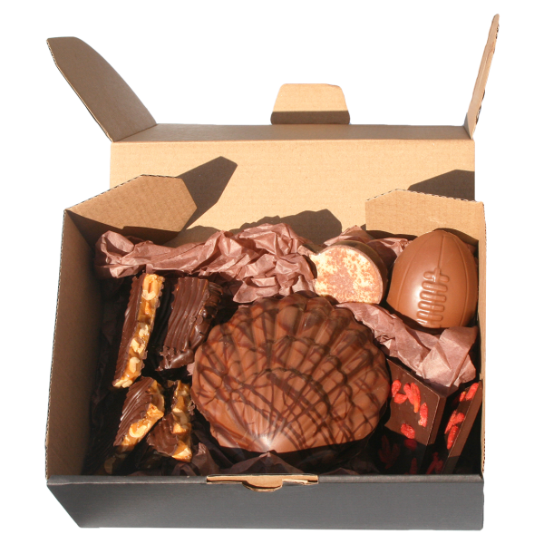 shell covering assorted chocolates inside hamper box