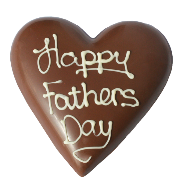 Happy fathers day on chocolate heart